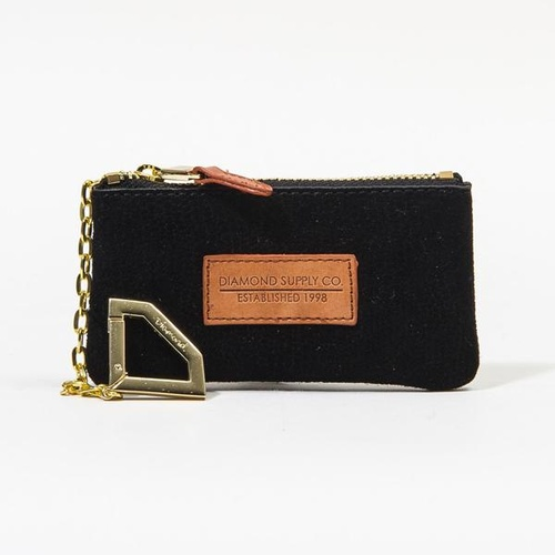 Diamond Pouch Lizard Suede Black