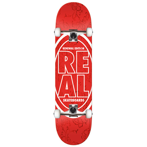 Real Floral Stacked Skateboard Red 7.75